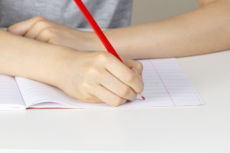 Mão da criança que mantém o lápis vermelho contra a página vazia do caderno fotos de stock