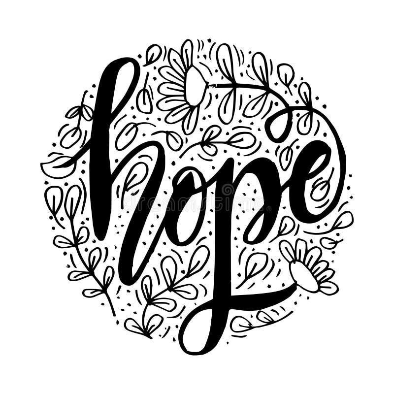 Mão da esperança que rotula a tipografia com floral ilustração royalty free
