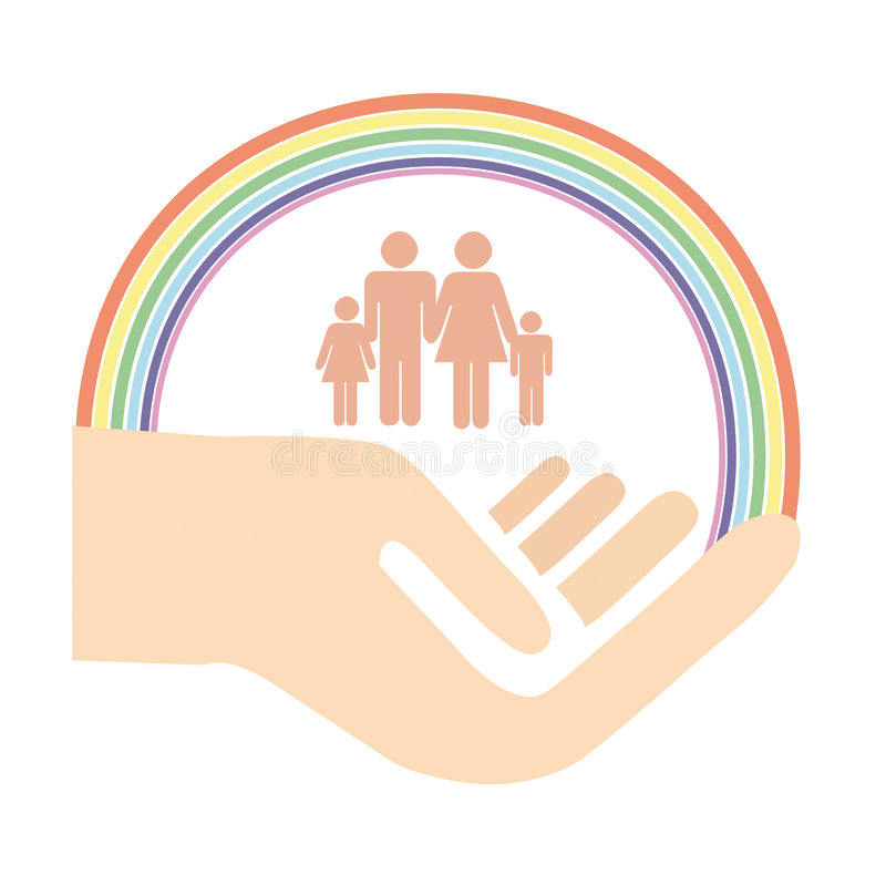 Mão da família, proteção ilustração royalty free