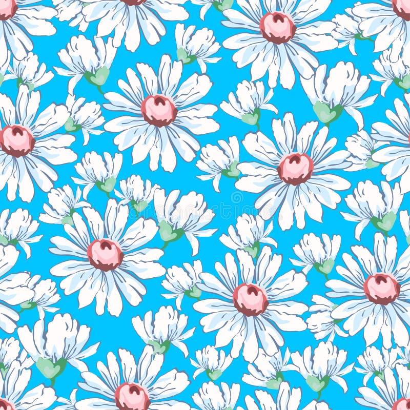 A mão da flor da camomila que tira o teste padrão sem emenda, vector o fundo floral, ornamento floral do bordado Botões tirados b ilustração do vetor