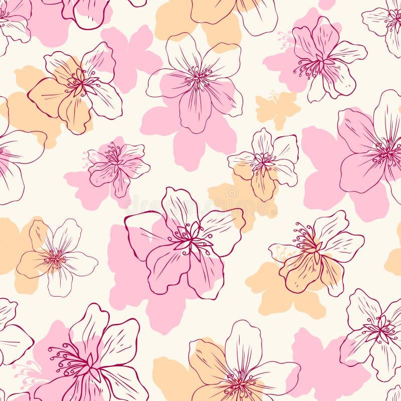 Mão da flor da flor de Apple tirada isolada no fundo claro, teste padrão floral do vetor sem emenda, arte cor-de-rosa do esboço d ilustração royalty free