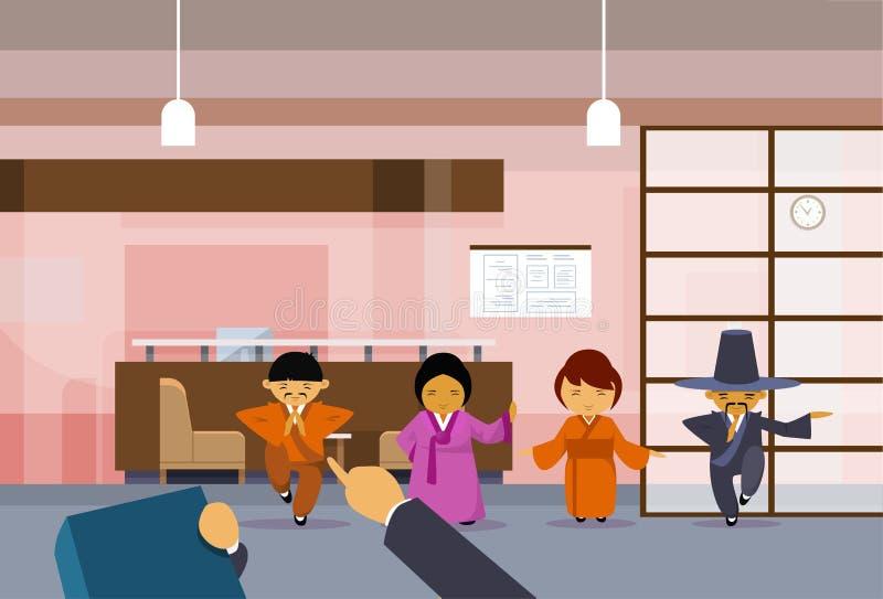 A mão da hora que aponta o dedo em executivos coreanos de Over Group Of do homem de negócios asiático em trajes tradicionais esco ilustração royalty free