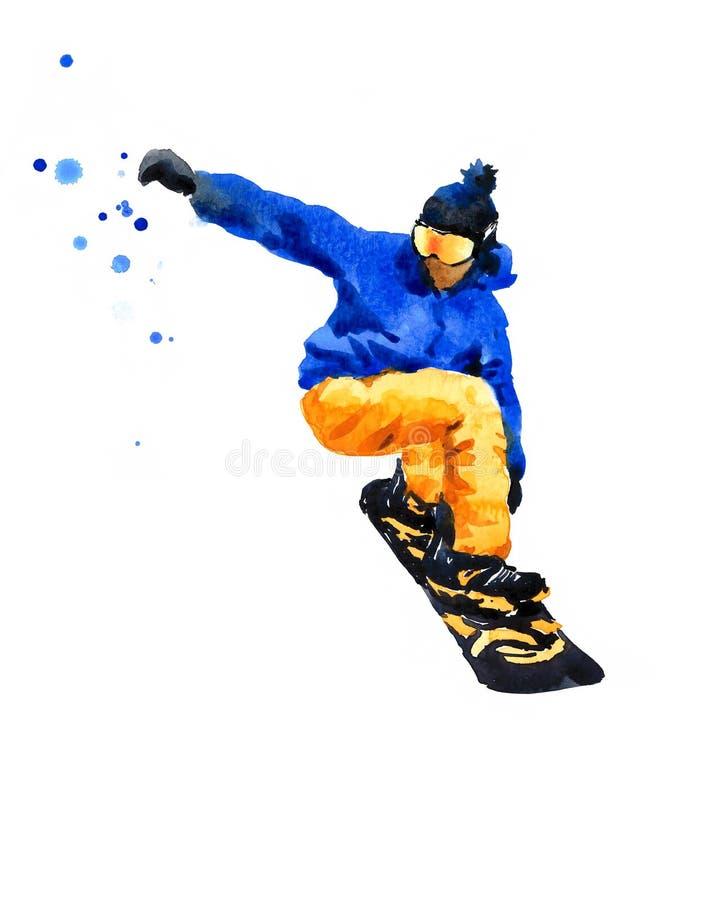 Mão da ilustração da aquarela do Snowboarder tirada ilustração do vetor