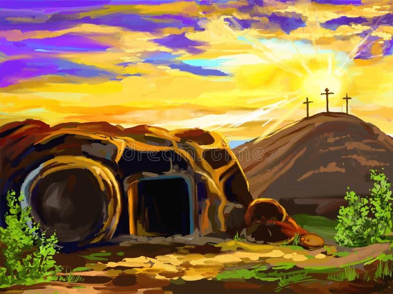 Mão da ilustração do vetor de Jesus Christ da Páscoa ilustração stock