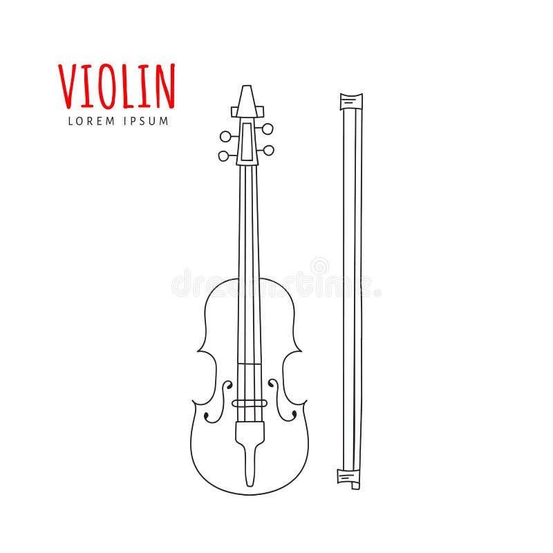 Mão da ilustração do vetor do violino tirada ilustração royalty free