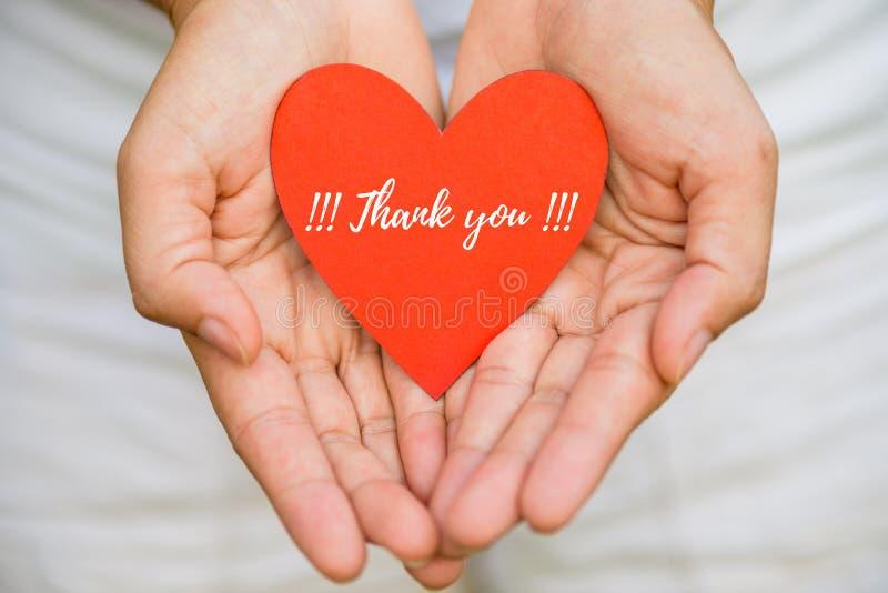 A mão da jovem mulher que guarda o papel vermelho do coração com AGRADECE-LHE mensagem fotografia de stock
