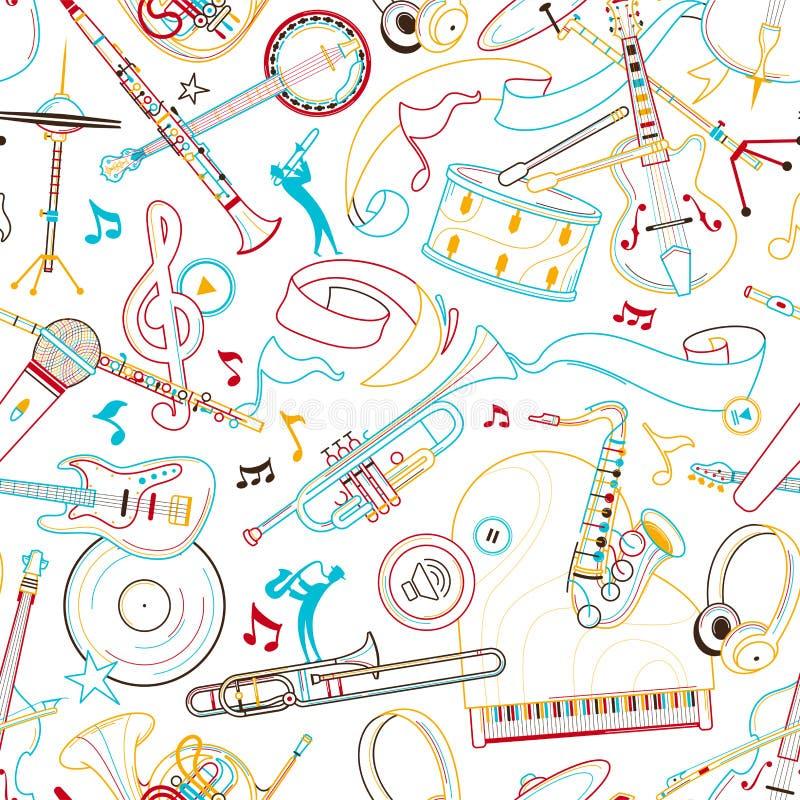 Mão da música jazz tirada para esboçar o teste padrão sem emenda ilustração do vetor