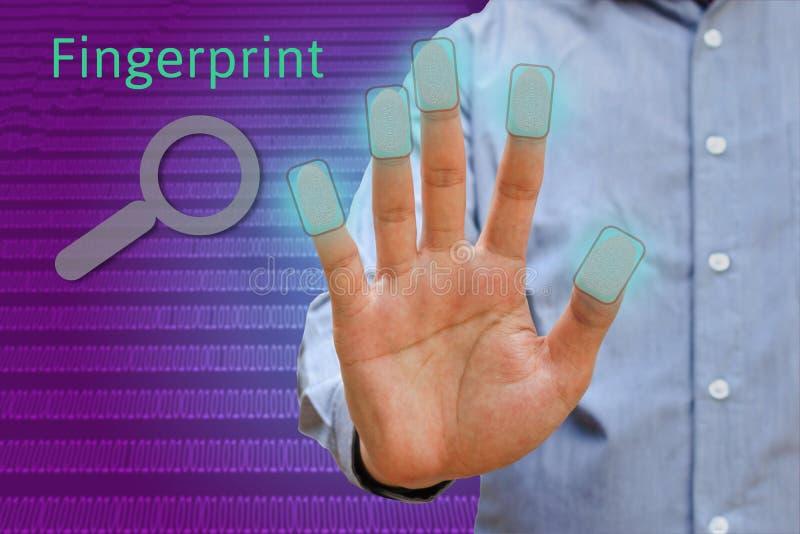 Mão da mostra do homem do corpo, conceito da impressão digital, impressão digital futurista imagens de stock