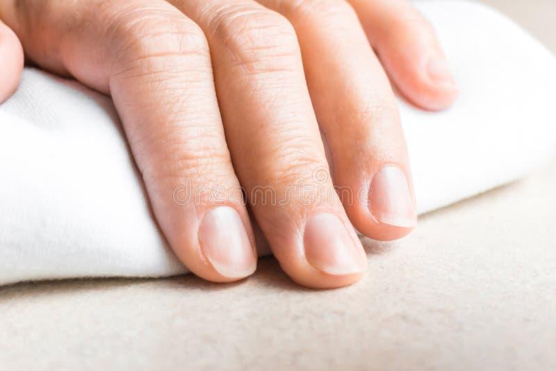 Mão da mulher com as unhas unpainted naturais imagens de stock royalty free