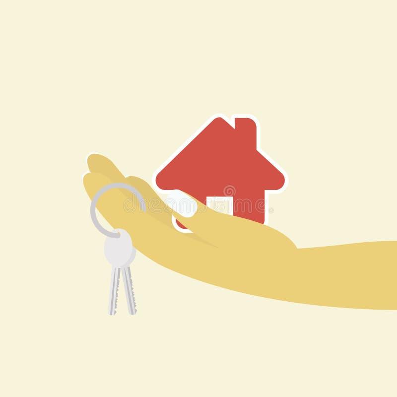 Mão da mulher com chave da casa e casa de campo no fundo ilustração stock