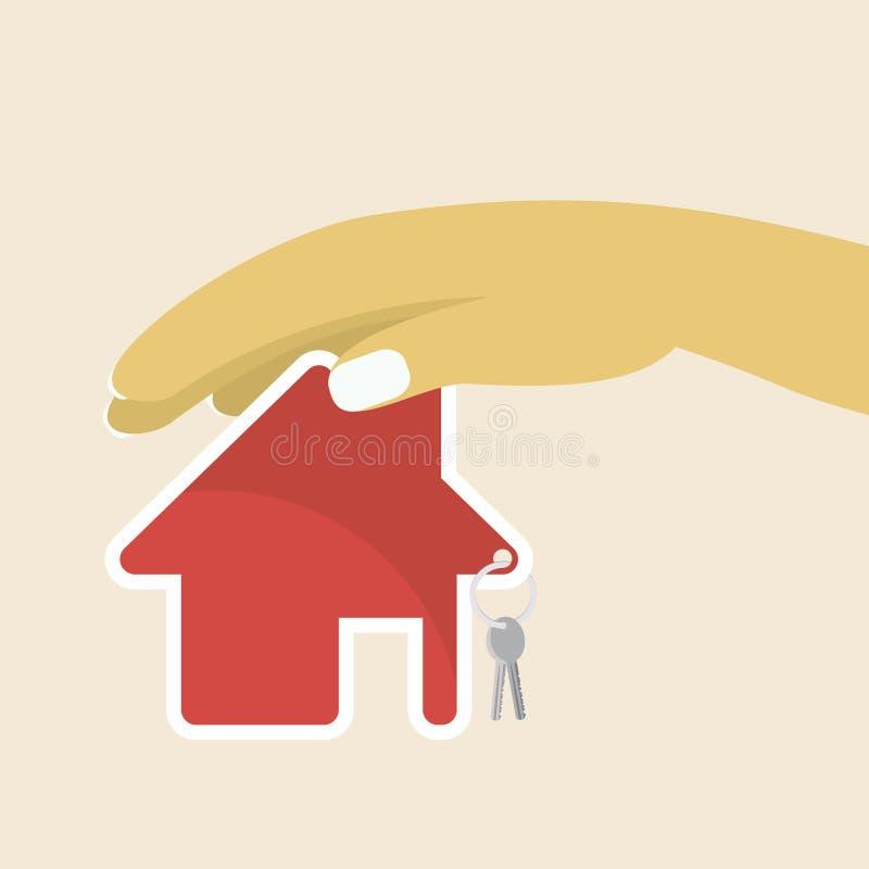 Mão da mulher com chave da casa e casa de campo no fundo ilustração do vetor