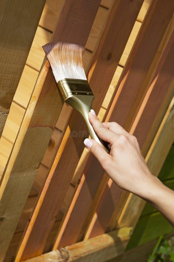 Mão da mulher com a escova que pinta o terraço de madeira fotos de stock royalty free