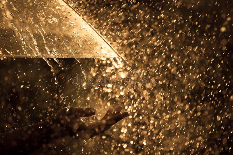 Mão da mulher com o guarda-chuva na chuva foto de stock