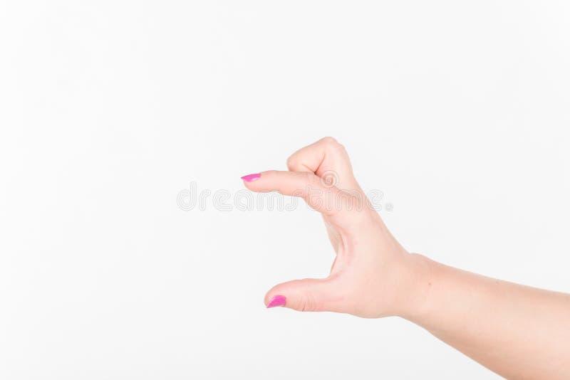 Mão da mulher com os dedos poloneses no fundo branco Como guardar o cartão vazio do Livro Branco para a mensagem fotografia de stock royalty free