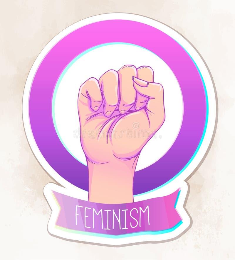 A mão da mulher com seu punho aumentado acima Poder da menina Conce do feminismo ilustração royalty free