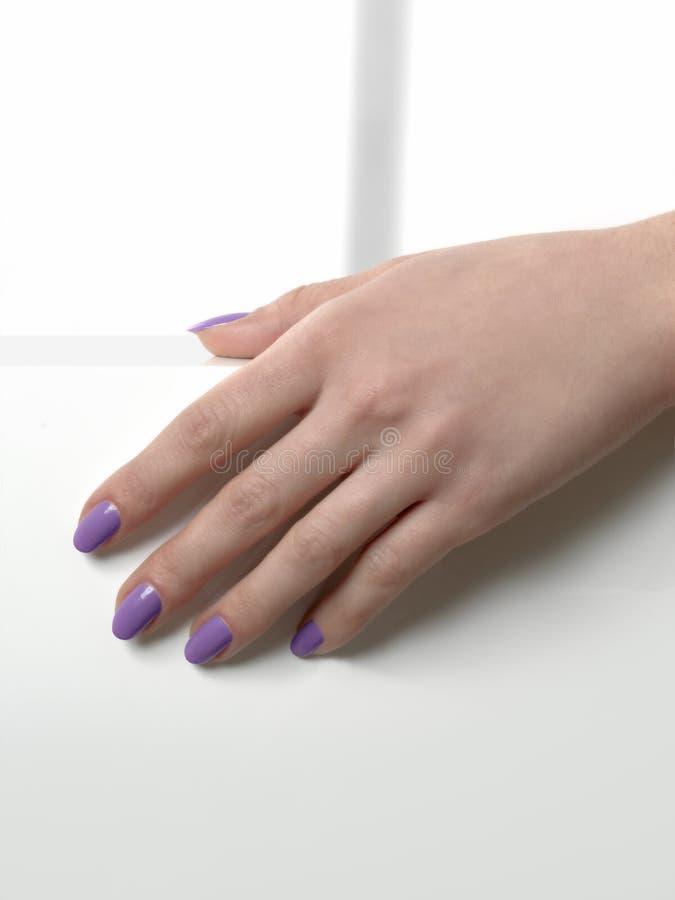 Mão da mulher com tratamento de mãos violeta dos pregos imagem de stock
