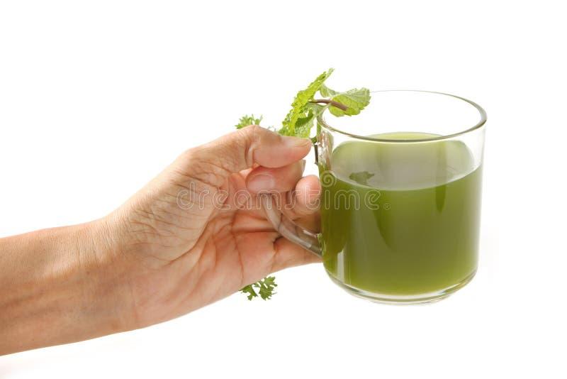 A mão da mulher dá um suco vegetal verde saudável foto de stock