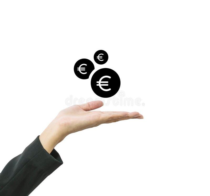 A mão da mulher de funcionamento do close up guarda para fora para receber a moeda na euro- moeda isolada no fundo branco no conc fotos de stock royalty free