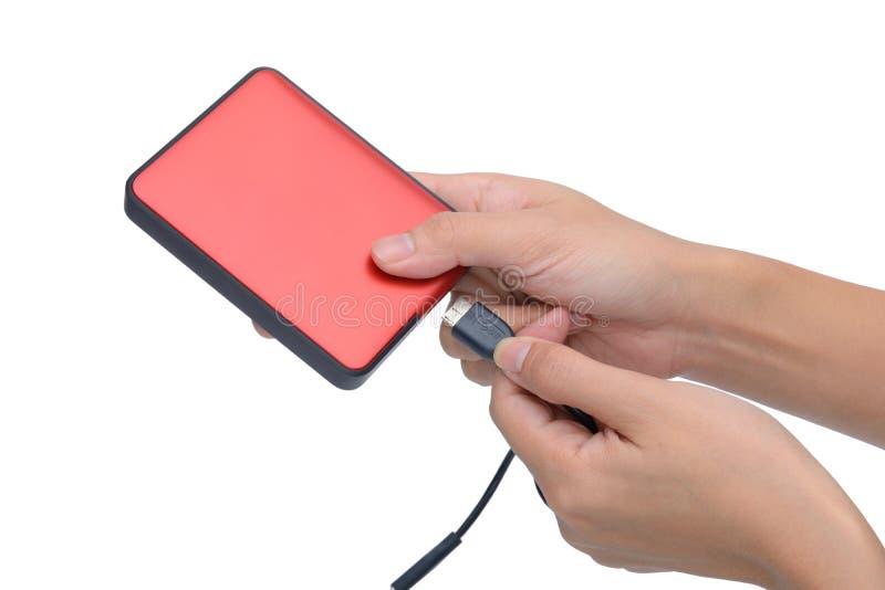 A mão da mulher enrolou o cabo de USB no disco rígido externo isolado sobre o whi foto de stock