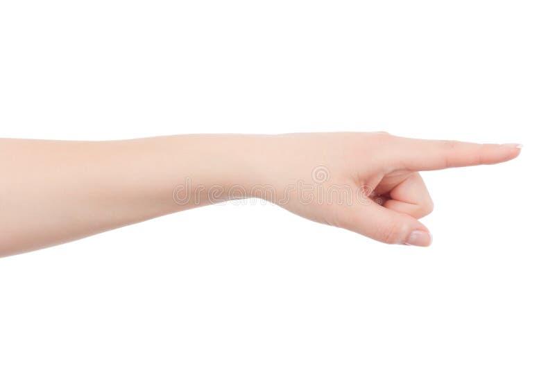 A mão da mulher está apontando a algo imagens de stock royalty free
