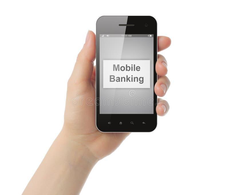 A mão da mulher guardara o telefone esperto com o botão móvel da operação bancária fotografia de stock royalty free