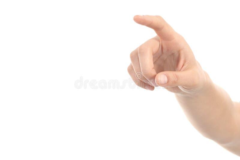 Mão da mulher que aponta ou que empurra com forefinger fotos de stock royalty free