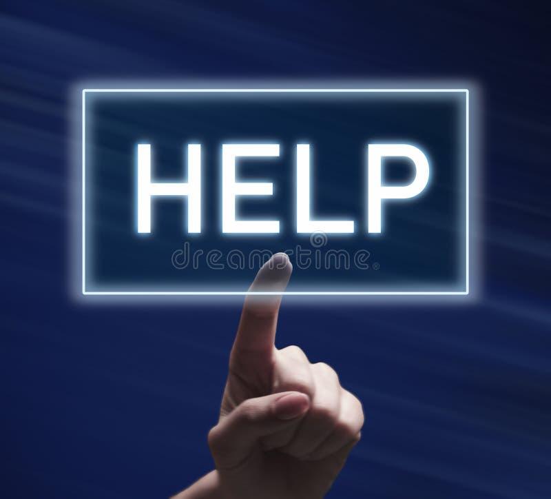 Mão da mulher que empurra o botão da ajuda no fundo azul foto de stock