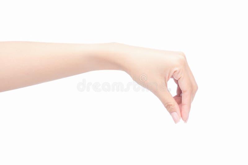 Mão da mulher que guarda o objeto imagens de stock
