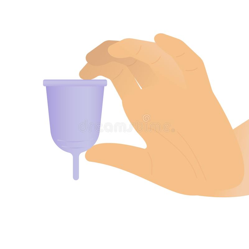 Mão da mulher que guarda um copo menstrual roxo - fundo branco ilustração do vetor