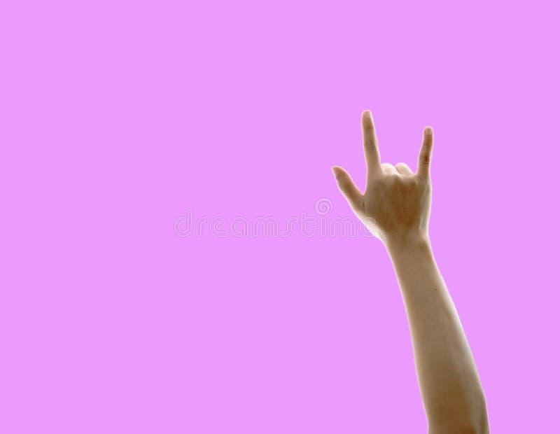 Mão da mulher que mostra o amor imagem de stock