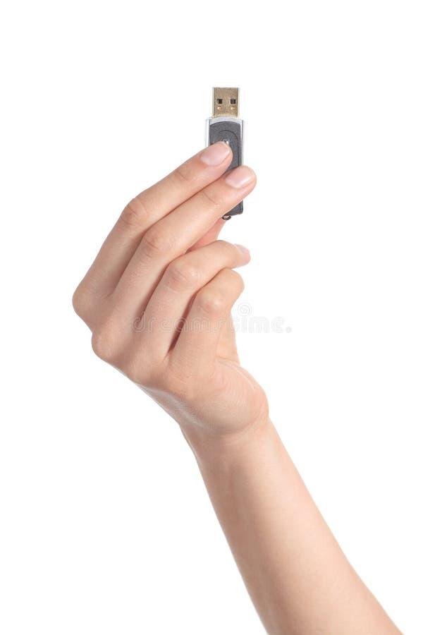Mão da mulher que sustenta uma movimentação instantânea foto de stock