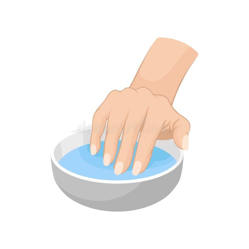 Mão da mulher s na bacia com água Ilustração sobre o cuidado profissional para pregos Vetor liso para anunciar o cartaz de ilustração do vetor