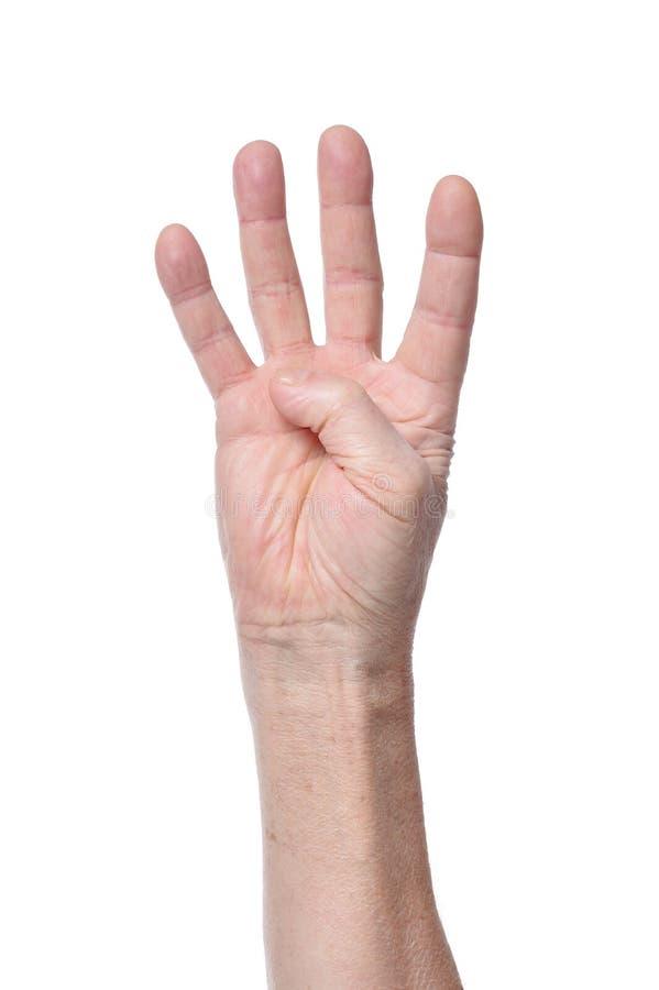 Mão da mulher superior que mostra quatro dedos foto de stock royalty free