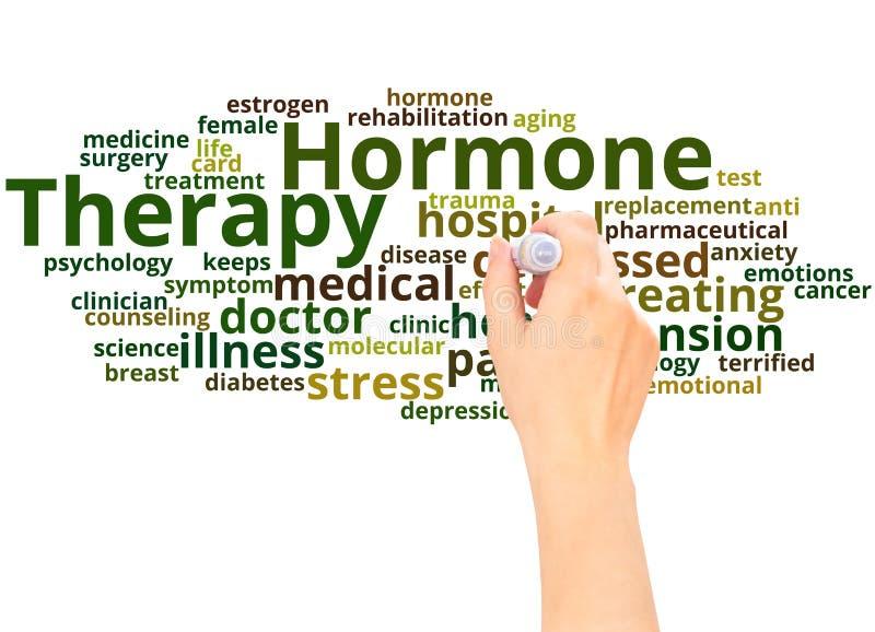 Mão da nuvem da palavra da terapia da hormona que escreve o conceito ilustração do vetor