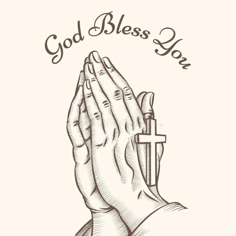Mão da oração com cruz ilustração royalty free