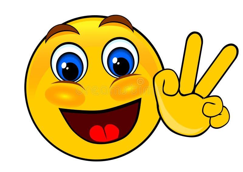Mão da paz dos emoticons do sorriso ilustração stock