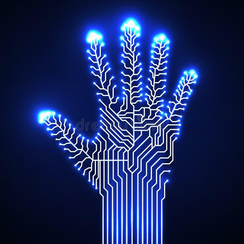 Mão da placa de circuito ilustração royalty free