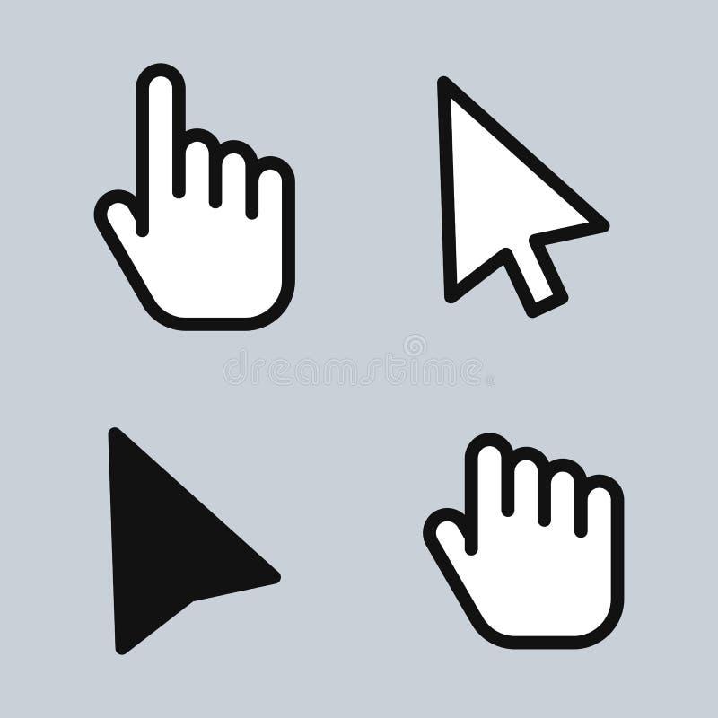 Mão da seta do cursor do rato ilustração royalty free