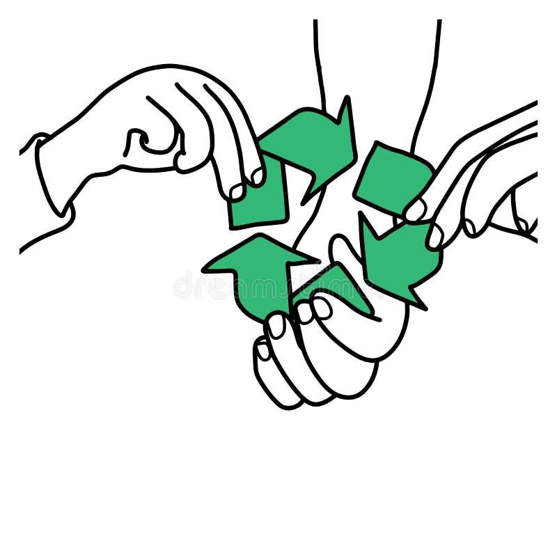 A mão da terra arrendada da família recicla o esboço h da ilustração do vetor do sinal ilustração stock