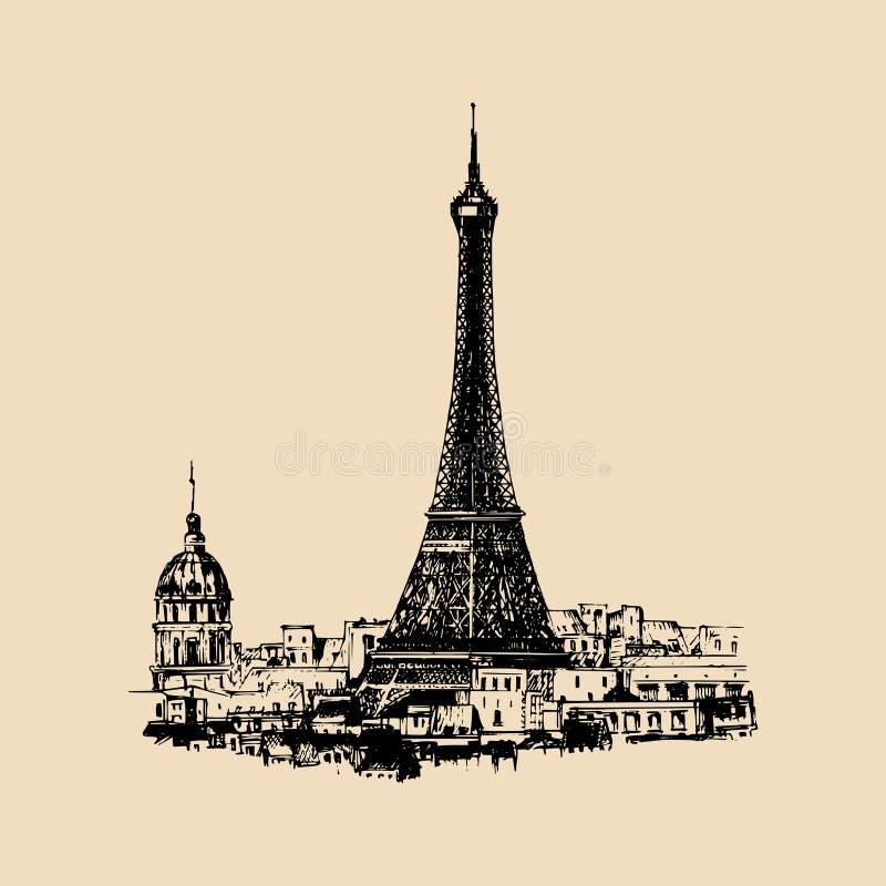 A mão da torre Eiffel esboçou a ilustração para o cartão, o cartaz festivo etc. Ícone do curso do vetor Paisagem da opinião de Pa ilustração do vetor