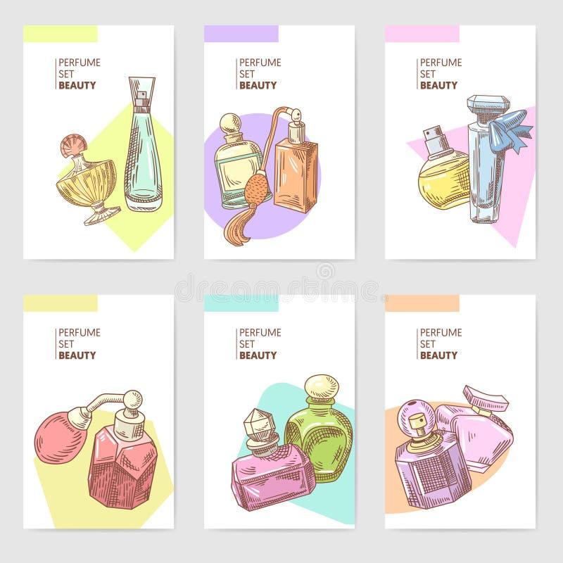 A mão das garrafas de perfume tirada carda o molde Aroma francês Folheto da loja de beleza da mulher ilustração stock