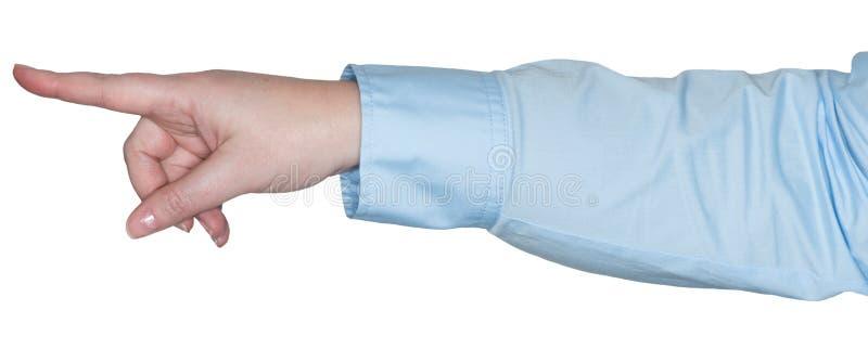 A mão das mulheres mostra um gesto como uma linguagem gestual fotos de stock royalty free