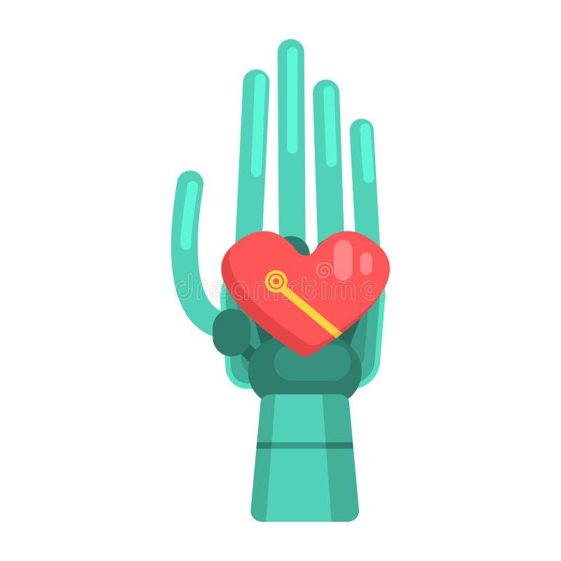 Mão de Android do metal que guarda o elemento da forma do coração, parte da série futurista robótico e da TI da ciência de ícones ilustração royalty free