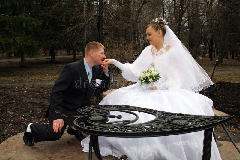 Mão de beijo do `s da noiva do noivo fotos de stock royalty free