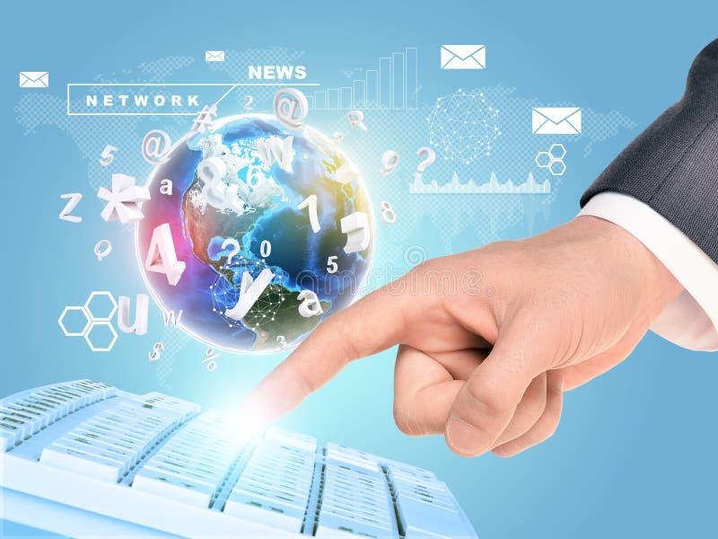 Mão de Businessmans com símbolos imagem de stock royalty free