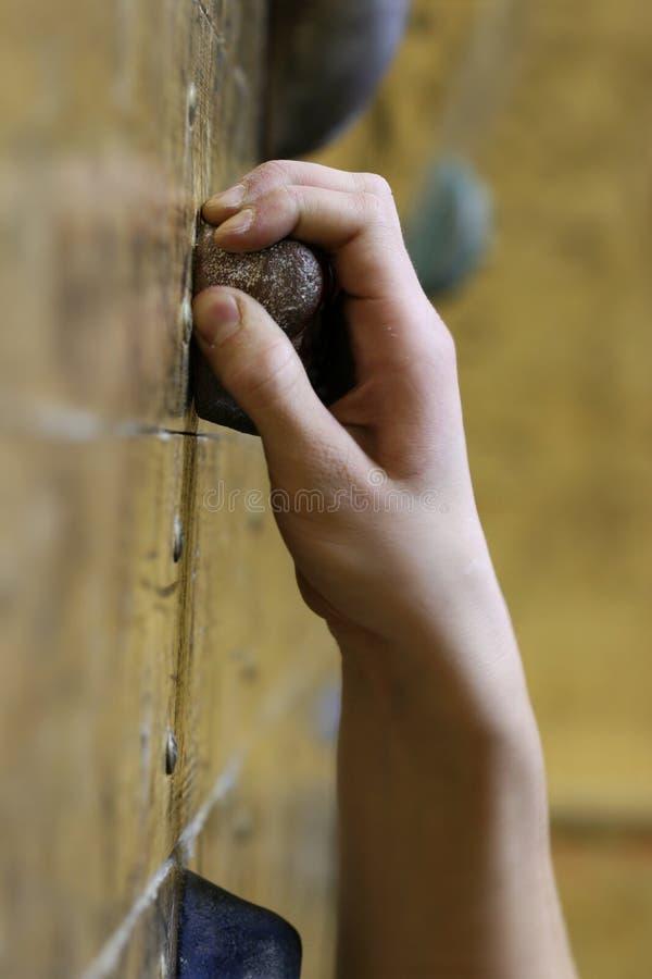A mão do montanhista fotografia de stock