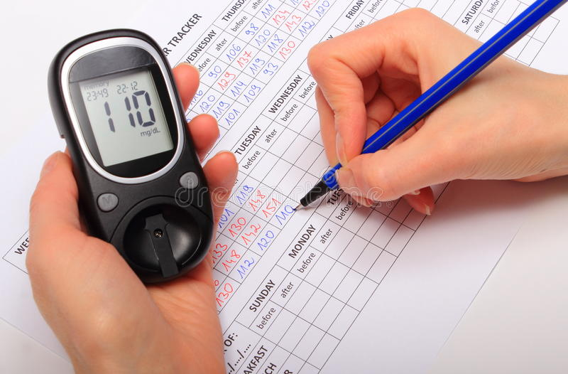 Mão de dados da escrita da mulher do glucometer ao formulário médico imagem de stock royalty free