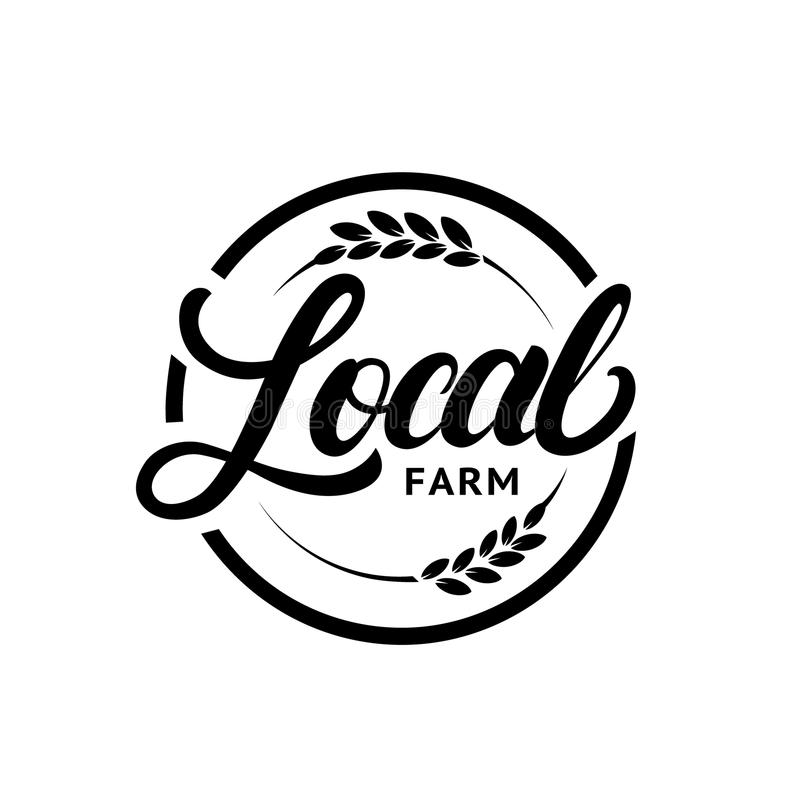 Mão de exploração agrícola local escrita rotulando o logotipo, etiqueta, crachá com a orelha do trigo ilustração royalty free