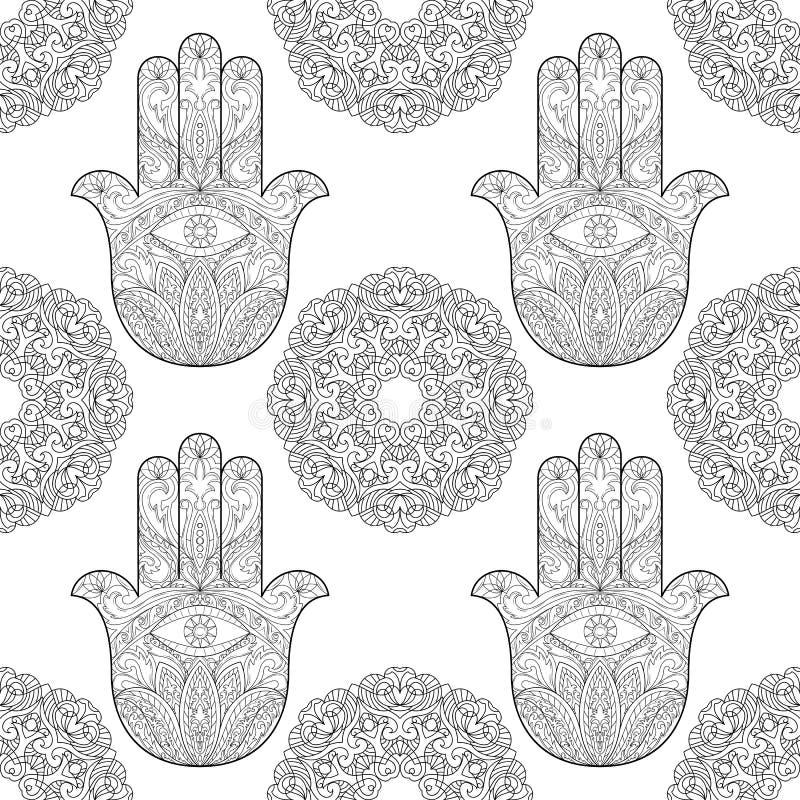 Mão de Fatima com Mandala Seamless Pattern ilustração do vetor