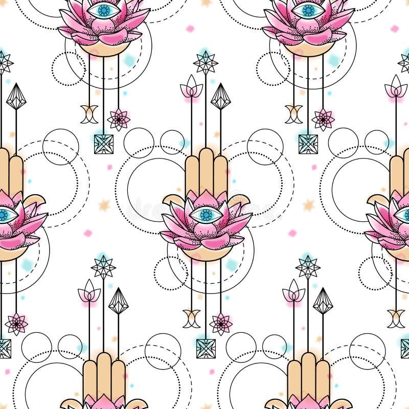 Mão de Fatima Watercolor Seamless Pattern ilustração royalty free